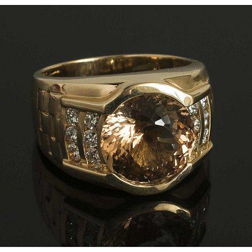 Champagne Topaz Diamond 14k Gold Ring
