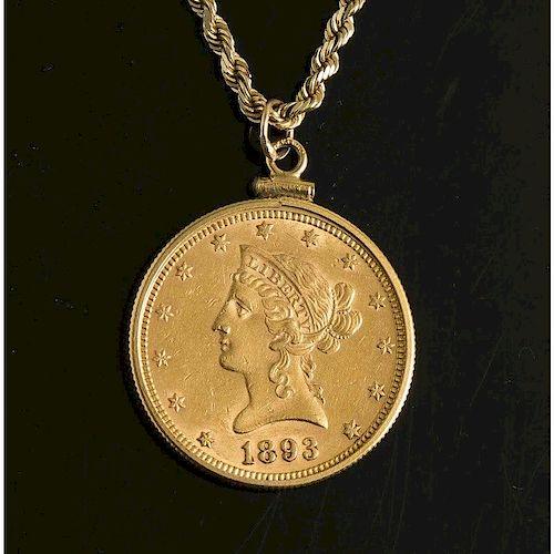 $10 Liberty Head Gold Coin In 14k Bezel w/ Chain