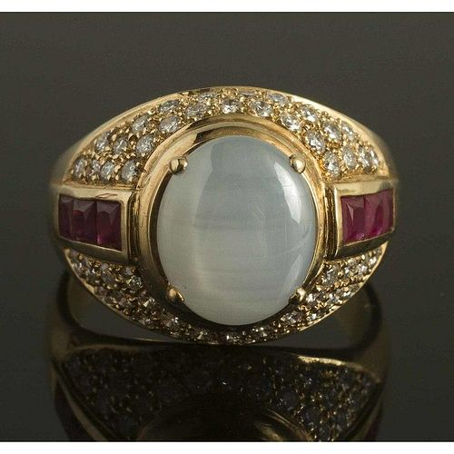 Gray Star Sapphire Ruby RIng