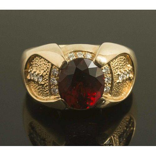 Spessartite Garnet Diamond 14k Gold Ring