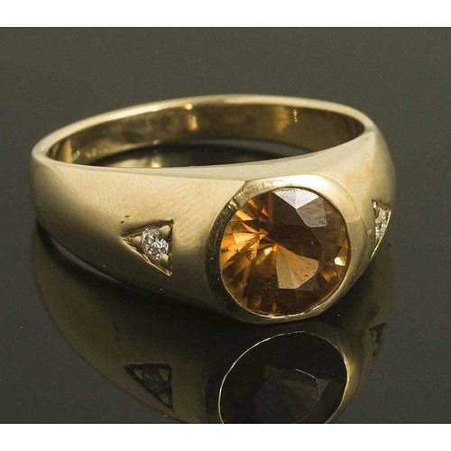 Natural Zircon Diamond 14k Gold Ring