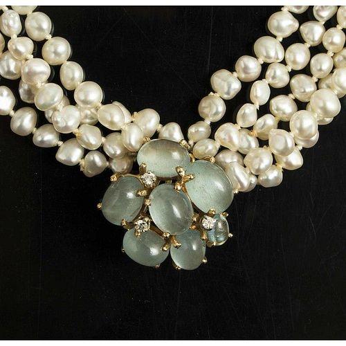 Biwa Pearl Aquamarine Necklace