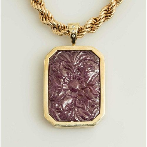 Carved Natural Ruby Pendant & Chain