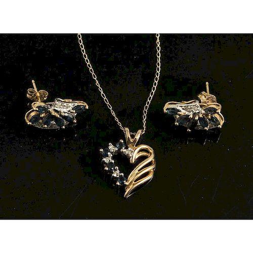 Sapphire/Diamond Necklace & Earrings