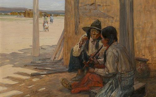Oscar E. Berninghaus (1874-1952) A Corner in Taos 1908