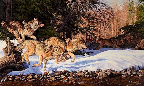 Greg Beecham (b. 1954) Wolves Running