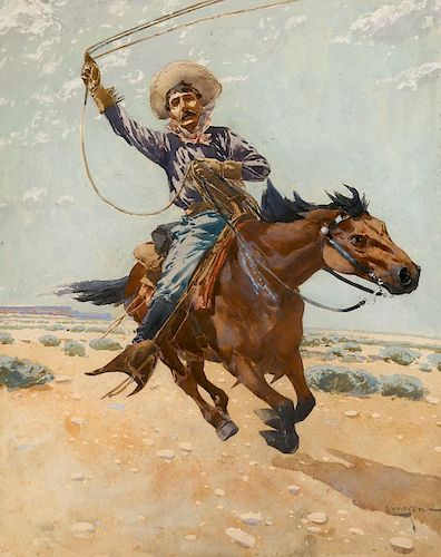 Fernand Harvey Lungren (1857-1932) Cowboy Roping