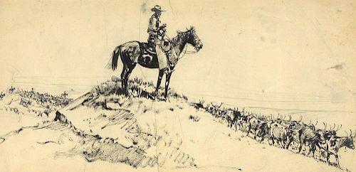 Edward Borein (1872-1945) Riding Herd
