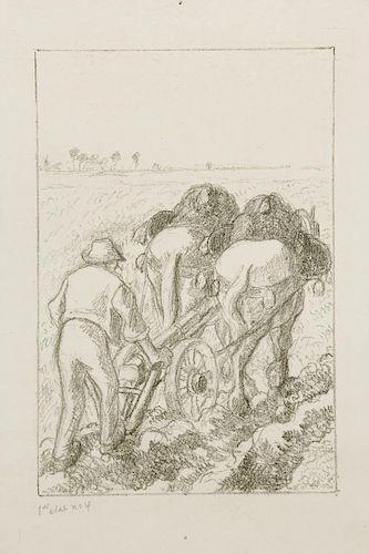"""Camille Pissarro (1830-1903) """"La Charrue"""", c. 1901"""