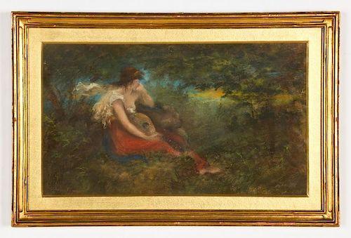 Pre-Raphaelite Style Pastel, signed