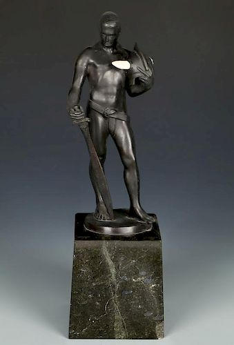 Walter Figural Bronze Statue of a Man with Sword