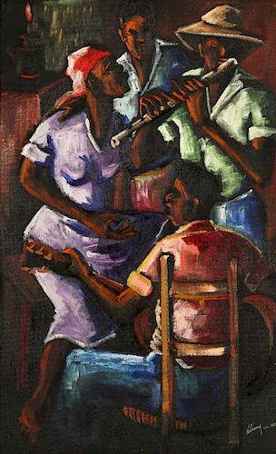 Nehemy Jean (Haitian, b. 1931) Musicians