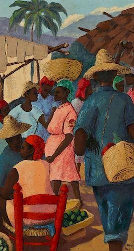 Petion Savain (1906-1973) Haitian Market Scene