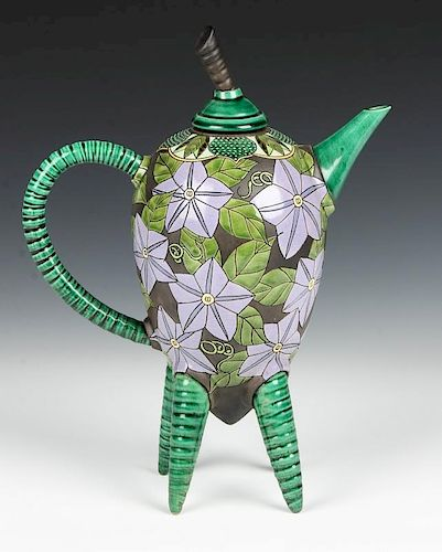 Kelly Torche Hong (20th c.) Teapot with Morning Glories