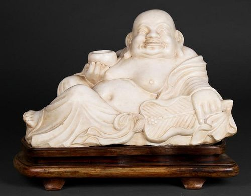 Finely Carved Marble Budai Sculpture
