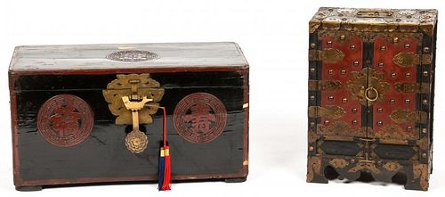 2 Antique Campaign Style Asian Chests