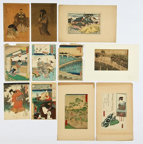 11 Japanese Woodcuts by Various Artists