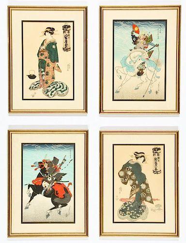 4 Framed Japanese Woodblock Prints