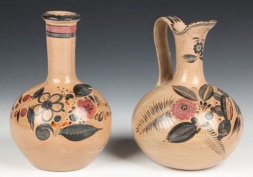 2 Early 20th C Tonala Pottery Vessels