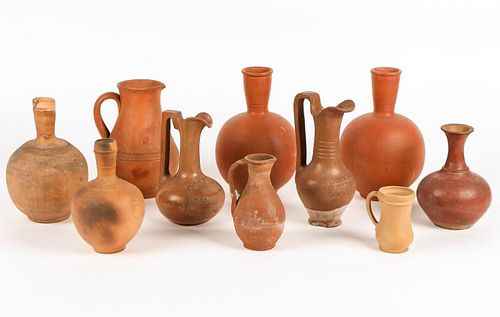 10 Early 20th C Earthenware Ewers and Bottles