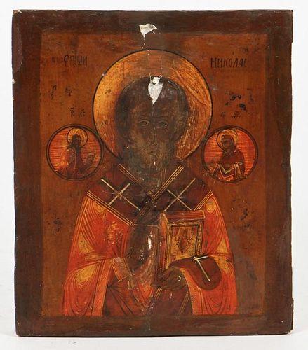 Antique Russian Icon of St. Nicholas