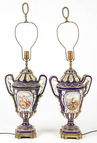 Pair Sevres Style Lamps