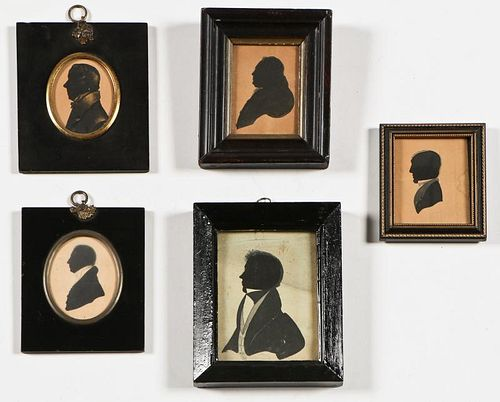 5 Antique Highlighted Silhouettes