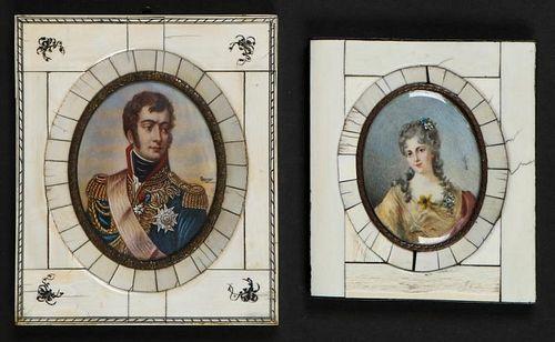 2 19th C Miniature Portraits