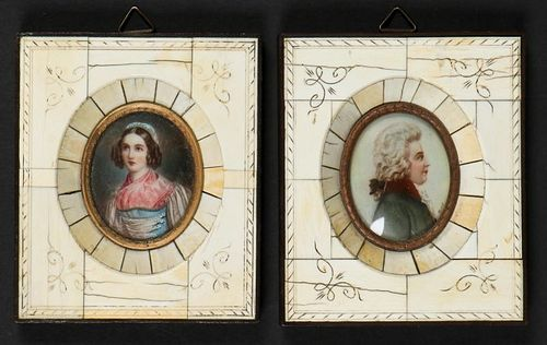 2 19th C Miniature Portraits Signed Stieler