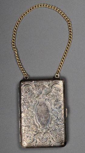 Vintage German Silver compact on chain lanyard