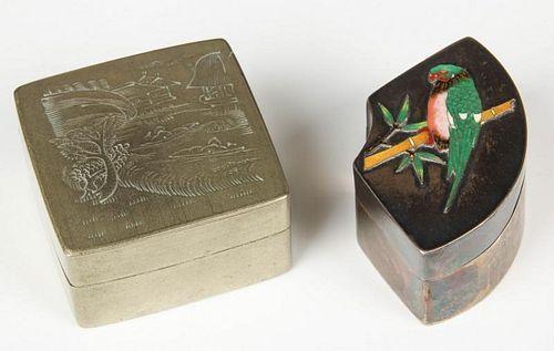 2 Chinese Metal Ingot Boxes