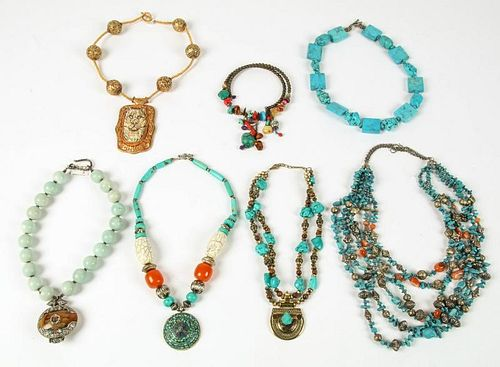 Estate Lot of Turquoise Costume Jewelry Necklaces