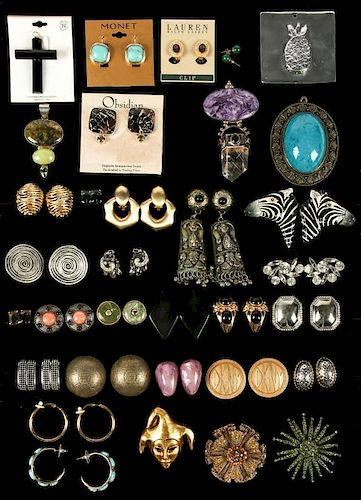 Estate Lot of Costume Jewelry Earrings Pendants and Brooches