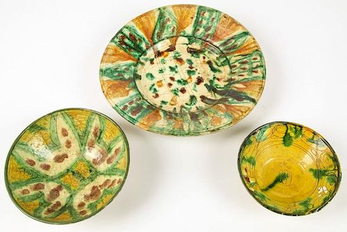 3 Antique Persian Faience Bowls