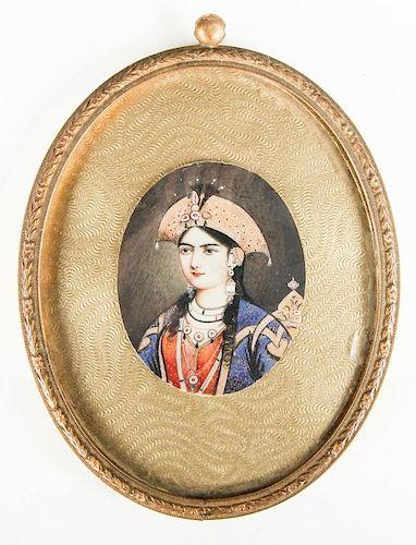 Antique Safavid Style Miniature Portrait