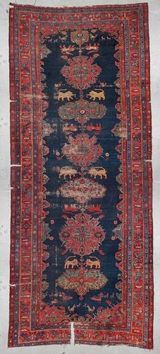 19th C. Shahsavan Lion Rug: 7'11'' x 19'2''