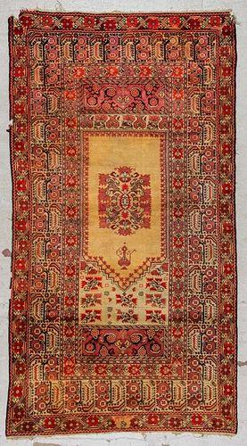 Antique Ghiordes Prayer Rug, 19th C: 3'10'' x 7'1'', 118 x 217 cm