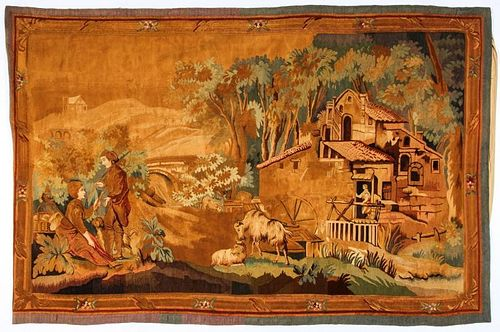 19th C. Continental Wool Pictorial Tapestry