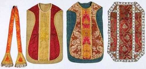 4 Antique Continental Ecclesiastical Silk Garments