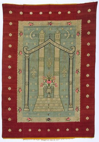 Antique Syrian Silk Prayer Kilim, Aleppo