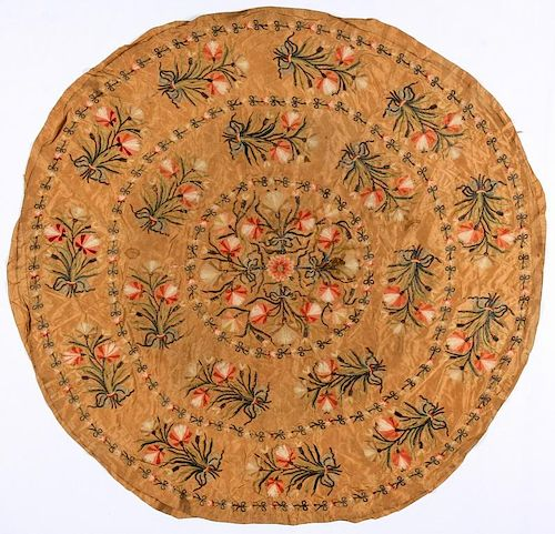 Fine 18th C. Silk Embroidered Ottoman or Continental  Roundel