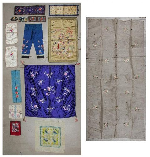 Collection of 15 Chinese Embroidered Textiles