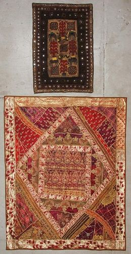 2 Antique Silk/Cotton Embroidered Panels, India