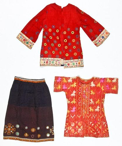 3 Old Indian Embroidered Textiles