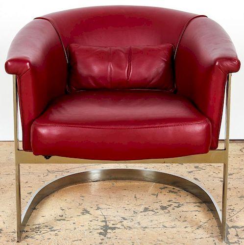 Milo Baughman Style Barrel Back Club Chair
