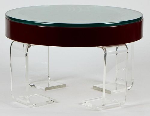 Custom Lucite and Lacquer Drum Low Table
