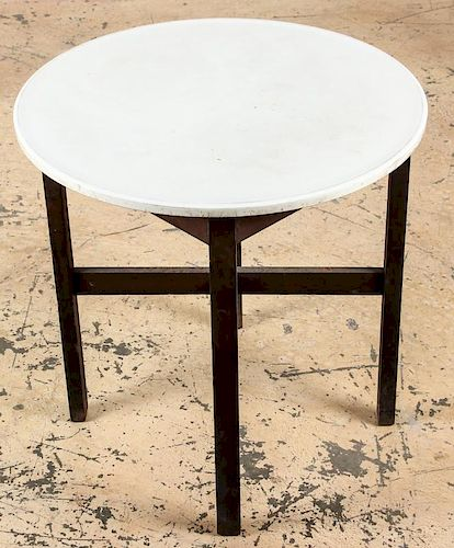 Vintage Ice Cream Parlor Table with Milk Glass Top