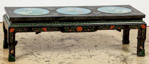 Chinese Cloisonne Inset Low Table