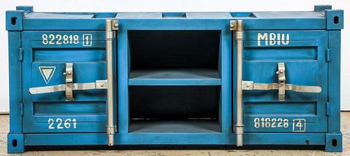 Industrial Style Metal Shipping Container Credenza