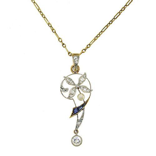Antique 15k Diamond Sapphire and Pearl Pendant